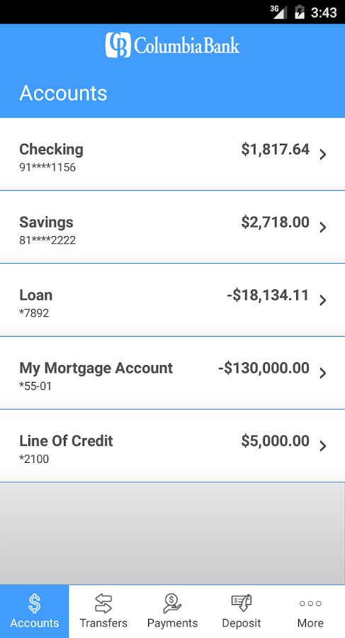 Columbia Bank Mobile- screenshot