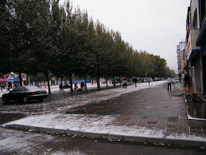 Photo: the entrance&main street of Qiqihar, near benzrad's QRRS dorms, in shallow snow.