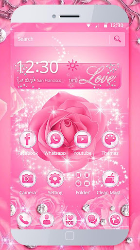 Diamond Pink Rose Theme  screenshots 1