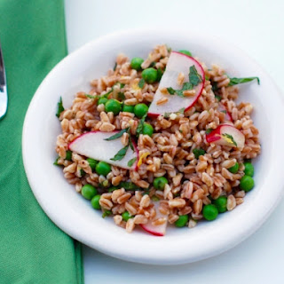 Spring Pea & Radish Farro Salad with Lemon Mint Vinaigrette