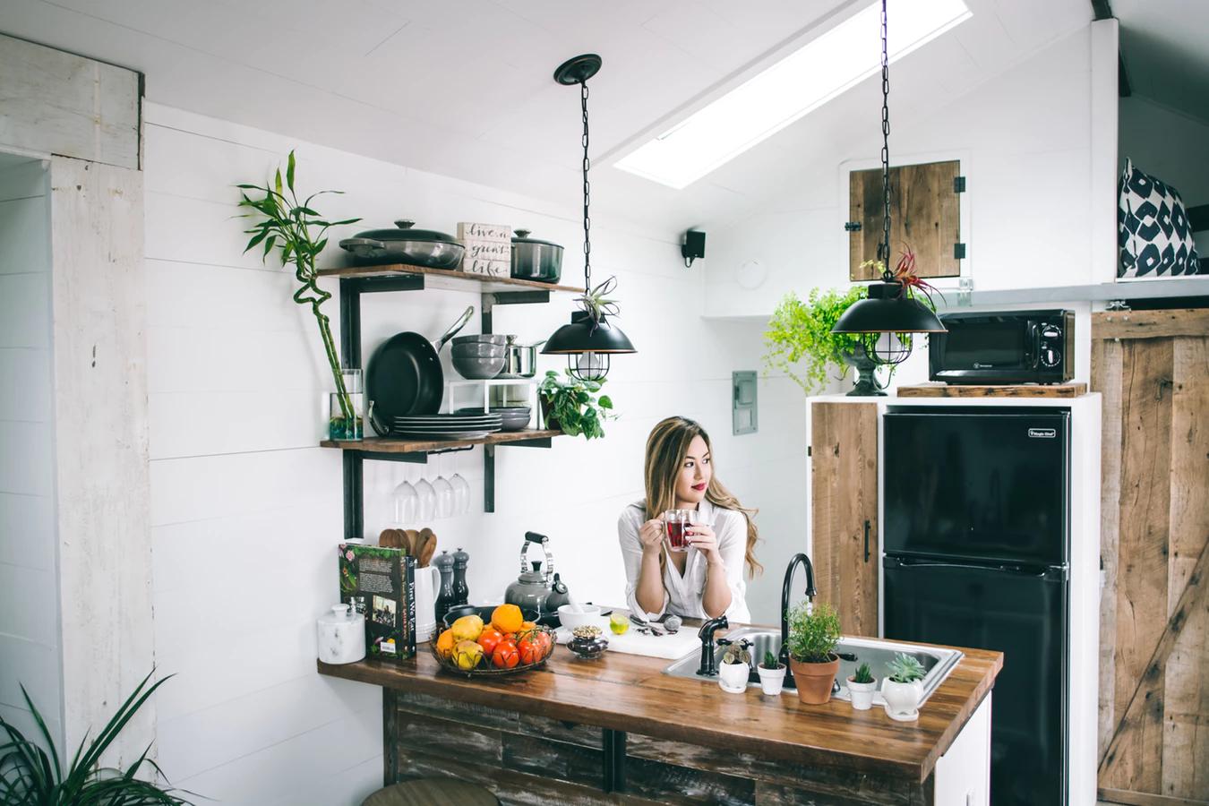 A modern kitchen colored a light gray