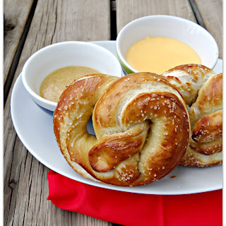 Hot Pretzels With Sweet Mustard And Cheese Sauce.