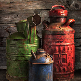 Trio by Jon Kinney - Artistic Objects Still Life ( gas, old, cans, oil )