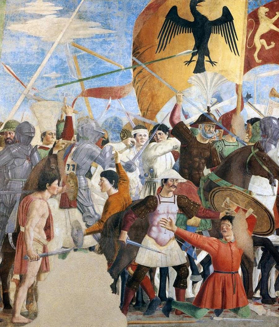 Piero della Francesca,Battaglia di Eraclio e Cosroè, affresco, parte sinistra, Basilica di San Francesco, Arezzo