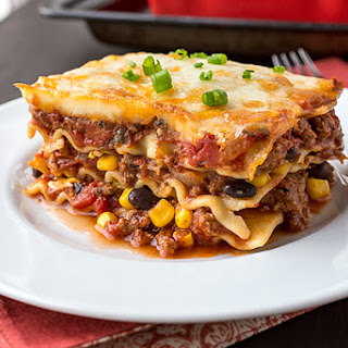 Mexican Lasagna with Fire-Roasted Tomato Sauce.