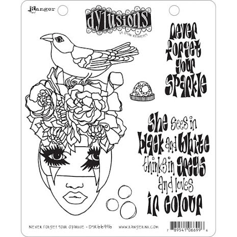 Dylusions Cling Stamps 8.5X7 - Never Forget Your Sparkle