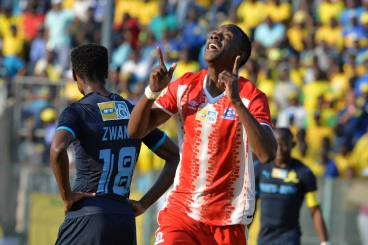 Evans Rusike of Maritzburg United celebrates his goal during the MTN 8 quarter final match between Mamelodi Sundowns and Maritzburg United at Lucas Moripe Stadium on August 13, 2017 in Pretoria, South Africa.