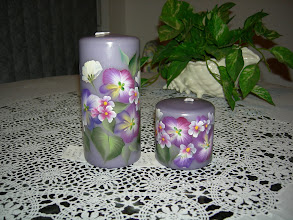 """Photo: 1005, 6"""" and 3"""" Purple candle set. Hand painted. The set is $24.00. If you want to buy 6"""" only which is $15.50 and 3"""" is $9.50."""