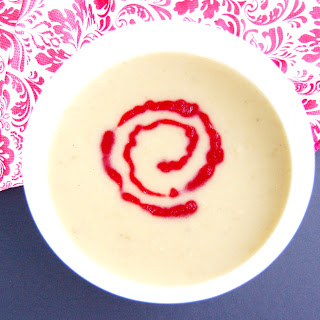 Creamy Parsnip Pear Soup with Cranberry Coulis
