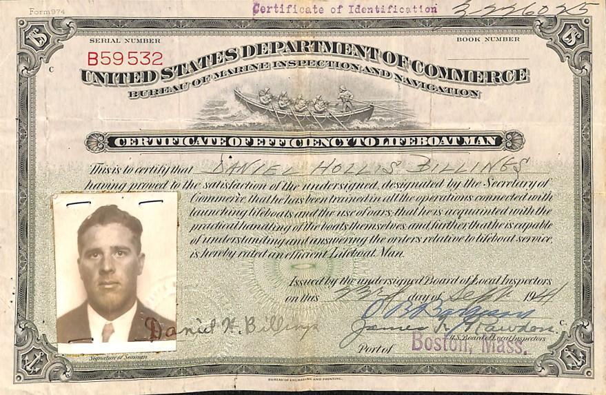 RG 26, Licenses Issued to Merchant Marine Officers, Billings, Daniel
