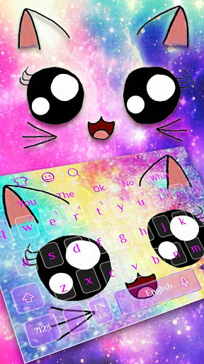 Galaxy Kitty Emoji Keyboard Theme for PC