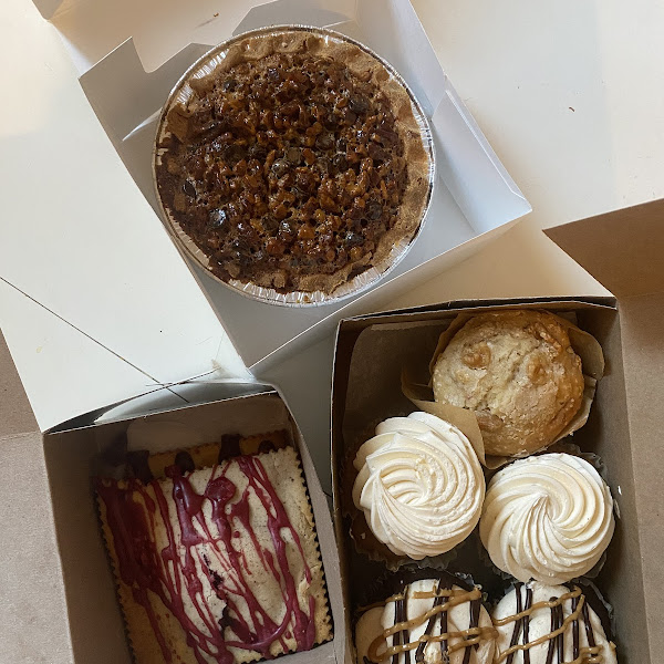 "small pie, gf ""pop tarts"", muffin, and cupcakes (carrot cake and chocolate peanut butter)"