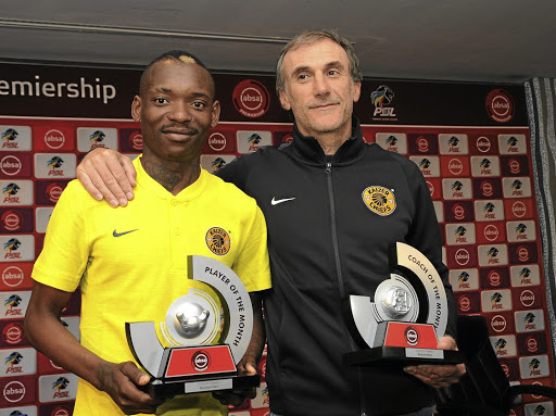 Khama Billiat and Giovanni Solinas pose with their awards yesterday.