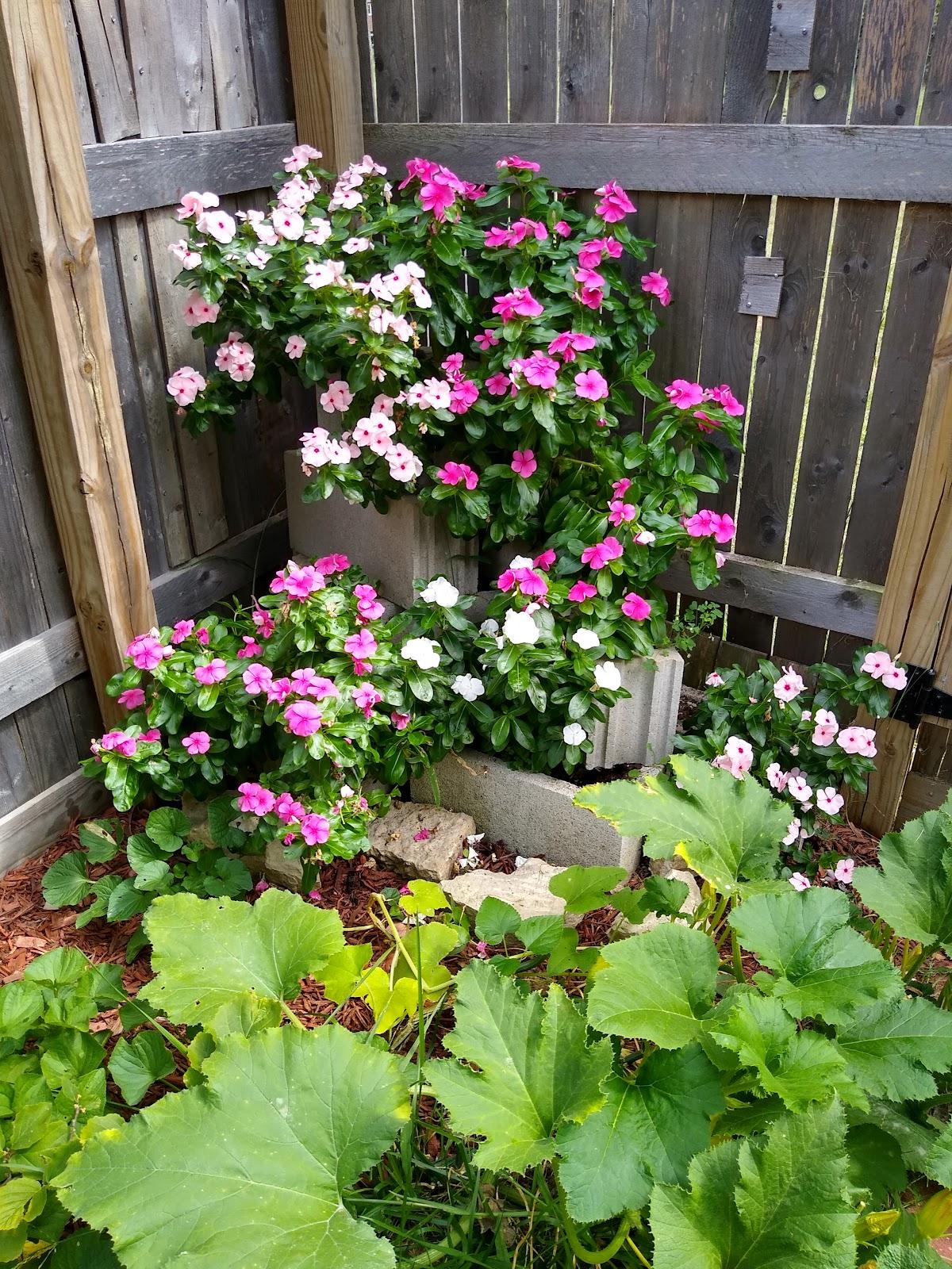 cinder block flower garden picture