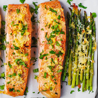 Garlic Parmesan Crusted Salmon and Asparagus.