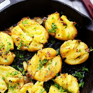 Garlic Butter and Soy Sauce Smashed Potatoes.