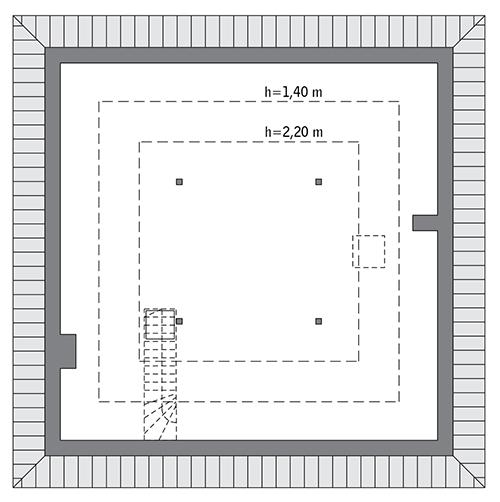Czterolistna koniczyna - wariant XIV - C444o - Rzut poddasza do indywidualnej adaptacji (57,3 m2 powierzchni użytkowej)
