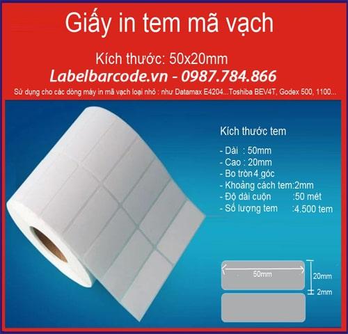 Giấy in tem mã vạch kích thước 50mmx20mmx 2 tem 1 hàng chất liệu decal giấy xé rách