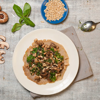 Quinoa Crepe With Garlic Mushrooms, Butter Beans & Spinach