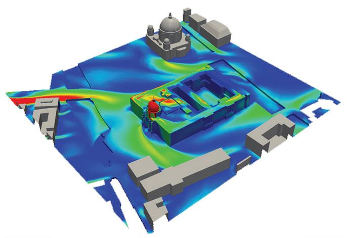 ANSYS Результаты CFD моделирования: показано распределение давления, вызванного ветровыми нагрузками