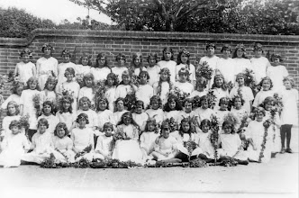 Photo: Wateringbury C of E School on May Day 1932 or 1933 - Girls Dressed for May Day Celebrations