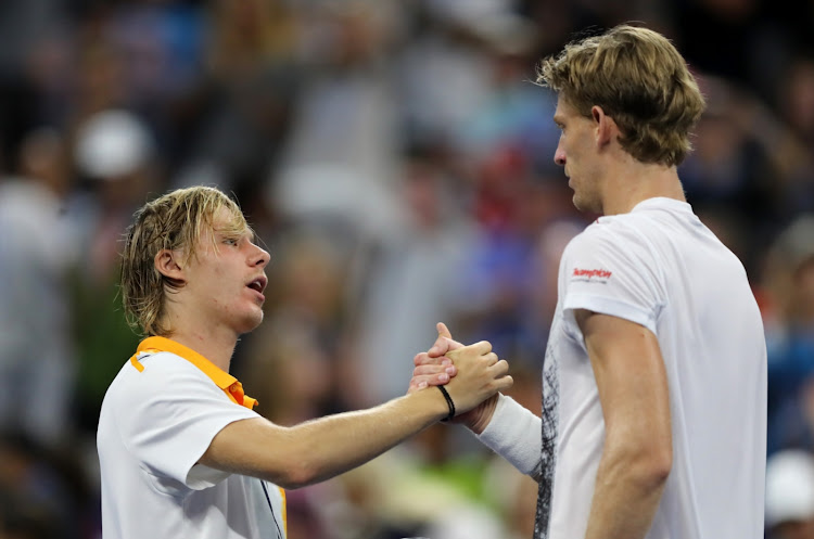 Kevin Anderson of South Africa shakes hands with Denis Shapovalov of Canada after their men's singles third round match against Denis Shapovalov of Canada on Day Five of the 2018 US Open at the USTA Billie Jean King National Tennis Center on August 31, 2018 in the Flushing neighborhood of the Queens borough of New York City.