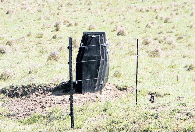STOP MEASURE: The coffin on a Stutterheim cattle farmer's property is not deterring criminals.