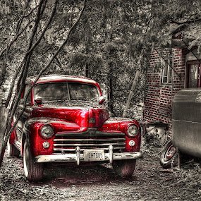 OLD SCHOOL ! by Udo Weber - Transportation Automobiles ( 1945, red, black and white, auto, ford, mono, classic, country )