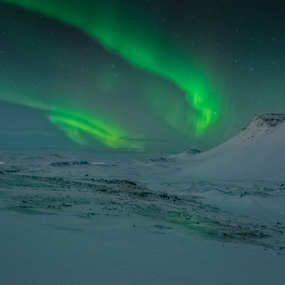 The Bridge to Valhalla by Kristvin Guðmundsson - Landscapes Mountains & Hills ( iceland, night photography, icelandair, visit iceland, ice, green, nother light, snow, aurora borealis, long exposure, travel, frozen )