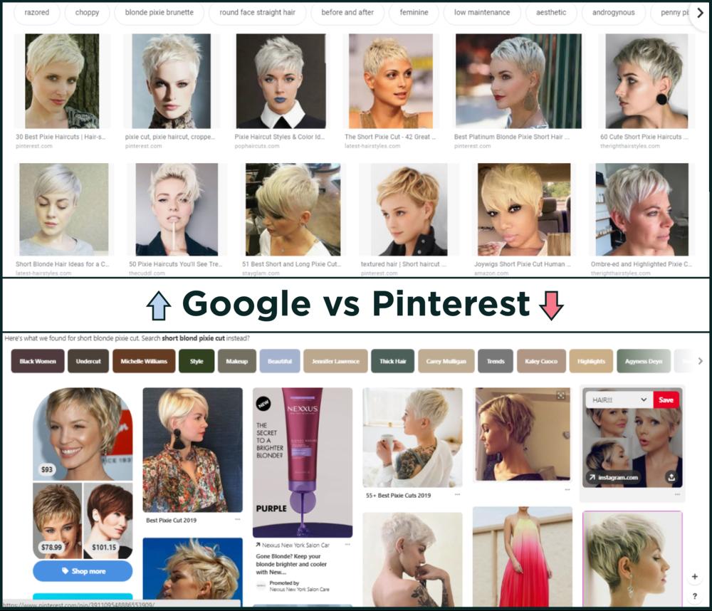 So sánh kết quả tìm kiếm của Google và Pinterest (cre: theshelf)