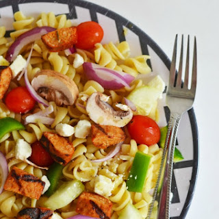 Buffalo Style Chicken Sausage Pasta Salad with Feta