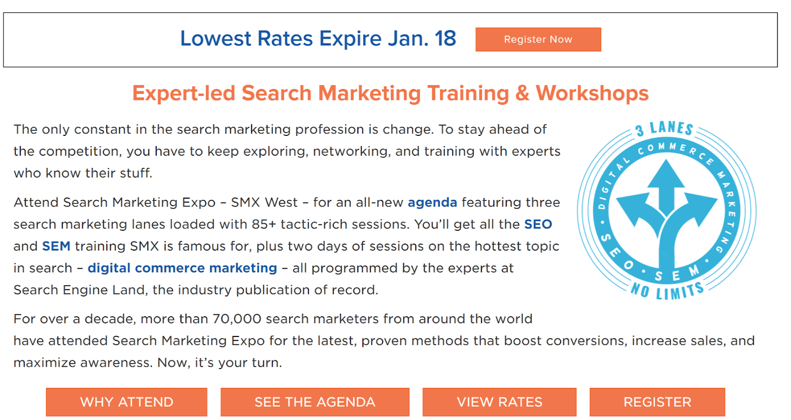 Landing page example from SMX