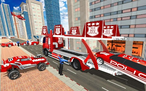 US Police Quad Bike Car Transporter Games Screenshot