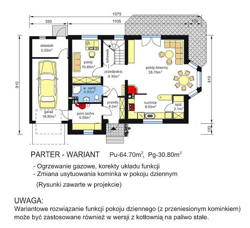 BW-03 wariant 4 - Rzut parteru - propozycja adaptacji - ogrzewanie gazowe