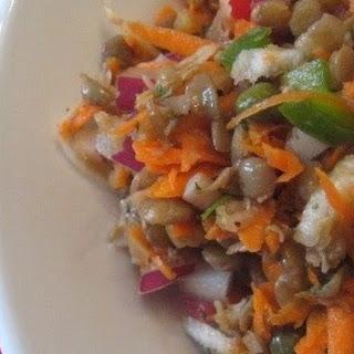 Lentil Salad with Summer Vegetables and Vinaigrette.