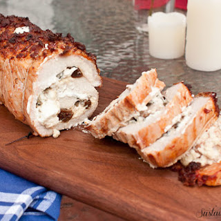 Bacon Marinated Pork Loin Stuffed with Fig, Sage, and Goat Cheese