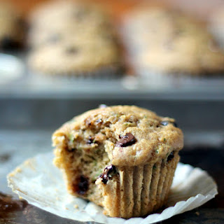Skinny Zucchini Banana Chocolate Chip Muffins {healthy, low-fat}.
