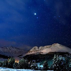 Good Night Sleeping Indian by Antonio Lobato - Landscapes Mountains & Hills ( landmark, mountains, winter, stars, colorado, night, landscape, nightscape,  )