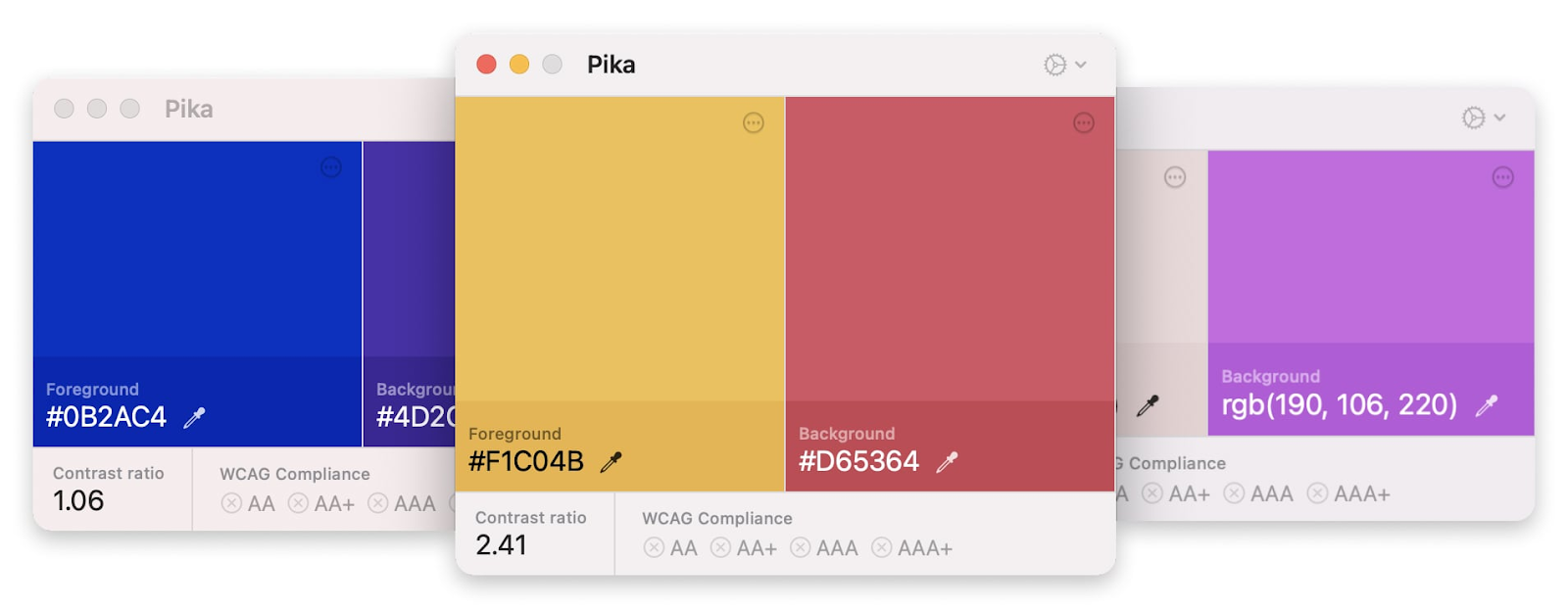 various Pika screens with 2 color combos (blue and purple, yellow and red, white and purple) with hex color code, contrast ratio, and WCAG compliance.