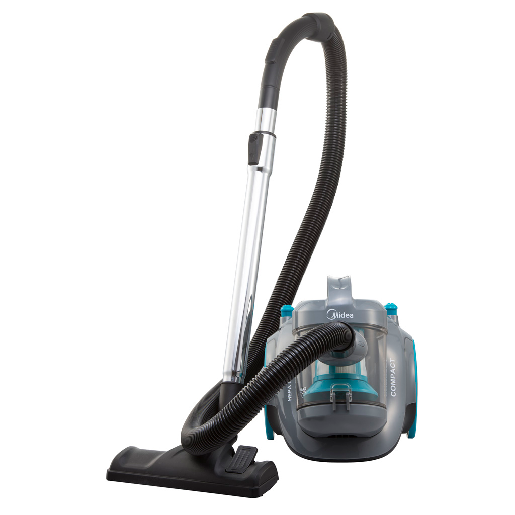 This bagless canister vacuum cleaner is a compact but high-capacity unit.