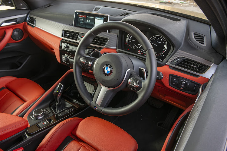 The interior of the BMW.