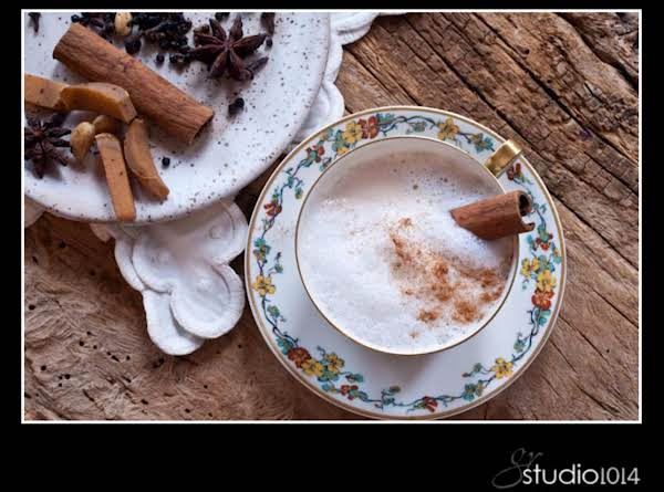 Frothy Chai Latte With Cinnamon Stick