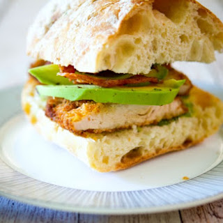 Chicken Cutlet Sandwich with Bacon, Avocado & Pesto.
