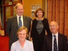 Photo: Brian Lander's retirement was the occasion that brought five Durham computing Directors together in October 2004. Pictured are Iain Stinson (1995-1998), Lesley Beddie (2003- ), Jackie Bettess (1998-2003) and John Lindley (1981-1994). The fifth director, John Hawgood (1968-1980 - not pictured) was also in attendance.