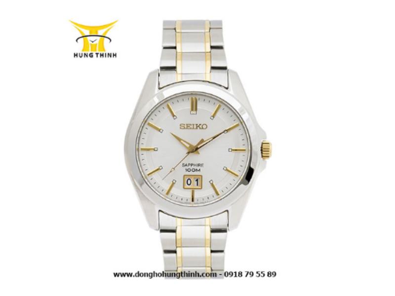 Sản phẩm đồng hồ Seiko dây kim loại này được trang bị mặt kính Sapphire- chất liệu cứng thứ 2 chỉ sau kim cương (Chi tiết sản phẩm tại đây)