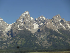 Photo: Day 18 Jackson Hole to Dubois WY 88 miles 4450' climbing: Tetons with glacier in center