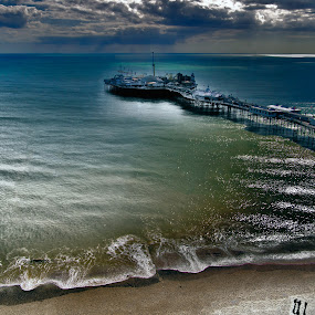 Brighton Pier from the eye by Peter Greenhalgh - Landscapes Waterscapes ( brighton eye, brighton, wheel, pier, brighton pier )