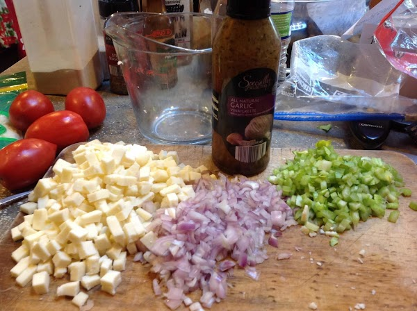 Chop veggies and cube cheese and set aside till needed.