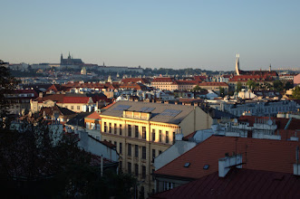 Photo: Sunset view from Vyšehrad, the walled castle south of the town center.