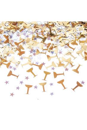 Konfetti champagne och stjärnor
